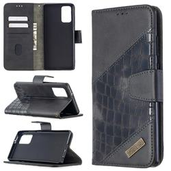BinfenColor BF04 Color Block Stitching Crocodile Leather Case Cover for Samsung Galaxy Note 20 - Black