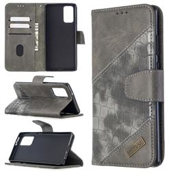 BinfenColor BF04 Color Block Stitching Crocodile Leather Case Cover for Samsung Galaxy Note 20 - Gray