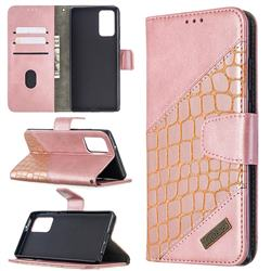 BinfenColor BF04 Color Block Stitching Crocodile Leather Case Cover for Samsung Galaxy Note 20 - Rose Gold