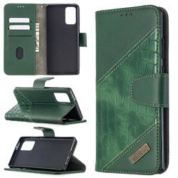 BinfenColor BF04 Color Block Stitching Crocodile Leather Case Cover for Samsung Galaxy Note 20 - Green