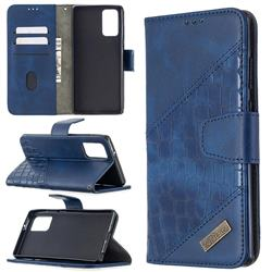 BinfenColor BF04 Color Block Stitching Crocodile Leather Case Cover for Samsung Galaxy Note 20 - Blue