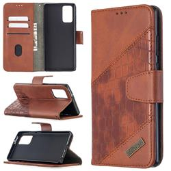 BinfenColor BF04 Color Block Stitching Crocodile Leather Case Cover for Samsung Galaxy Note 20 - Brown