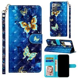 Rankine Butterfly 3D Leather Phone Holster Wallet Case for Samsung Galaxy Note 20