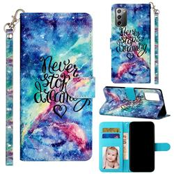 Blue Starry Sky 3D Leather Phone Holster Wallet Case for Samsung Galaxy Note 20