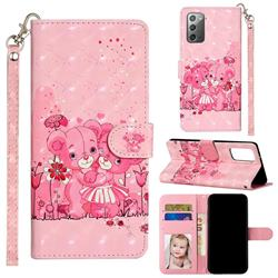 Pink Bear 3D Leather Phone Holster Wallet Case for Samsung Galaxy Note 20