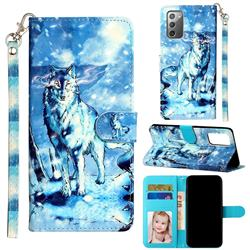 Snow Wolf 3D Leather Phone Holster Wallet Case for Samsung Galaxy Note 20