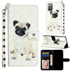Pug Dog 3D Leather Phone Holster Wallet Case for Samsung Galaxy Note 20