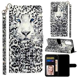 White Leopard 3D Leather Phone Holster Wallet Case for Samsung Galaxy Note 20