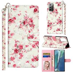 Rambler Rose Flower 3D Leather Phone Holster Wallet Case for Samsung Galaxy Note 20
