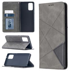 Prismatic Slim Magnetic Sucking Stitching Wallet Flip Cover for Samsung Galaxy Note 20 - Gray