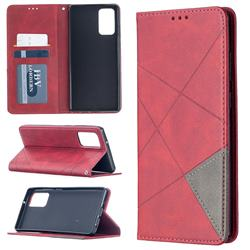 Prismatic Slim Magnetic Sucking Stitching Wallet Flip Cover for Samsung Galaxy Note 20 - Red