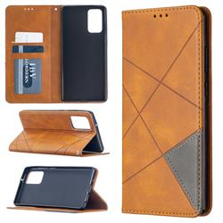 Prismatic Slim Magnetic Sucking Stitching Wallet Flip Cover for Samsung Galaxy Note 20 - Yellow