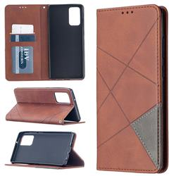 Prismatic Slim Magnetic Sucking Stitching Wallet Flip Cover for Samsung Galaxy Note 20 - Brown