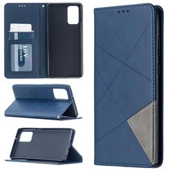 Prismatic Slim Magnetic Sucking Stitching Wallet Flip Cover for Samsung Galaxy Note 20 - Blue