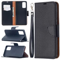 Classic Luxury Litchi Leather Phone Wallet Case for Samsung Galaxy Note 20 - Black