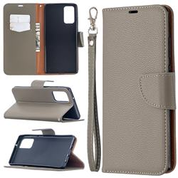 Classic Luxury Litchi Leather Phone Wallet Case for Samsung Galaxy Note 20 - Gray