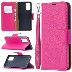 Classic Luxury Litchi Leather Phone Wallet Case for Samsung Galaxy Note 20 - Rose