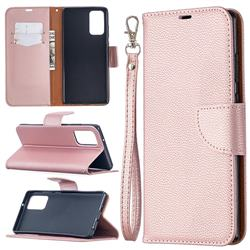 Classic Luxury Litchi Leather Phone Wallet Case for Samsung Galaxy Note 20 - Golden