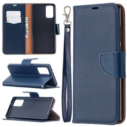 Classic Luxury Litchi Leather Phone Wallet Case for Samsung Galaxy Note 20 - Blue