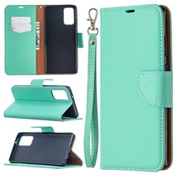 Classic Luxury Litchi Leather Phone Wallet Case for Samsung Galaxy Note 20 - Green