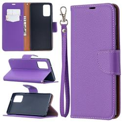 Classic Luxury Litchi Leather Phone Wallet Case for Samsung Galaxy Note 20 - Purple