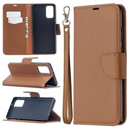 Classic Luxury Litchi Leather Phone Wallet Case for Samsung Galaxy Note 20 - Brown