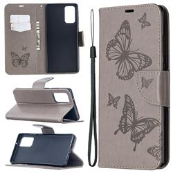 Embossing Double Butterfly Leather Wallet Case for Samsung Galaxy Note 20 - Gray