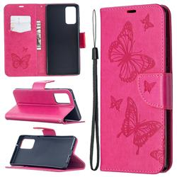 Embossing Double Butterfly Leather Wallet Case for Samsung Galaxy Note 20 - Red