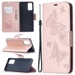 Embossing Double Butterfly Leather Wallet Case for Samsung Galaxy Note 20 - Rose Gold