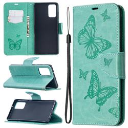 Embossing Double Butterfly Leather Wallet Case for Samsung Galaxy Note 20 - Green