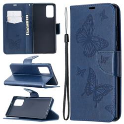 Embossing Double Butterfly Leather Wallet Case for Samsung Galaxy Note 20 - Dark Blue