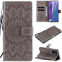 Embossing Sunflower Leather Wallet Case for Samsung Galaxy Note 20 - Gray
