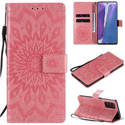 Embossing Sunflower Leather Wallet Case for Samsung Galaxy Note 20 - Pink