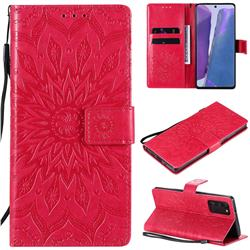 Embossing Sunflower Leather Wallet Case for Samsung Galaxy Note 20 - Red