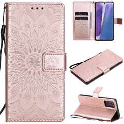 Embossing Sunflower Leather Wallet Case for Samsung Galaxy Note 20 - Rose Gold
