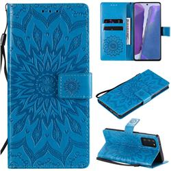 Embossing Sunflower Leather Wallet Case for Samsung Galaxy Note 20 - Blue