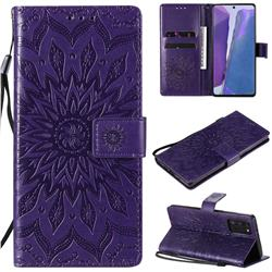 Embossing Sunflower Leather Wallet Case for Samsung Galaxy Note 20 - Purple