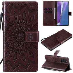 Embossing Sunflower Leather Wallet Case for Samsung Galaxy Note 20 - Brown