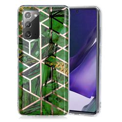 Green Rhombus Galvanized Rose Gold Marble Phone Back Cover for Samsung Galaxy Note 20