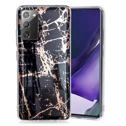 Black Galvanized Rose Gold Marble Phone Back Cover for Samsung Galaxy Note 20