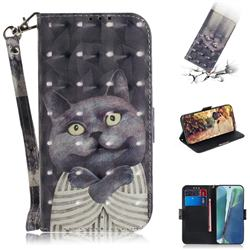 Cat Embrace 3D Painted Leather Wallet Phone Case for Samsung Galaxy Note 20