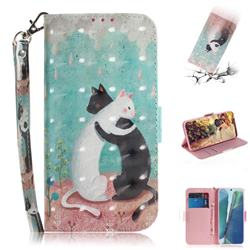 Black and White Cat 3D Painted Leather Wallet Phone Case for Samsung Galaxy Note 20