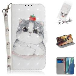 Cute Tomato Cat 3D Painted Leather Wallet Phone Case for Samsung Galaxy Note 20