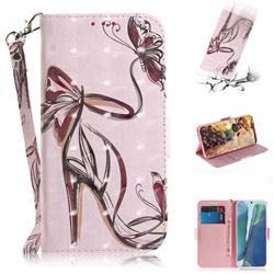 Butterfly High Heels 3D Painted Leather Wallet Phone Case for Samsung Galaxy Note 20