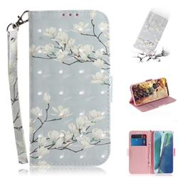 Magnolia Flower 3D Painted Leather Wallet Phone Case for Samsung Galaxy Note 20