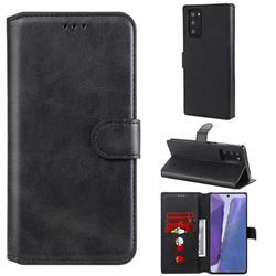 Retro Calf Matte Leather Wallet Phone Case for Samsung Galaxy Note 20 - Black