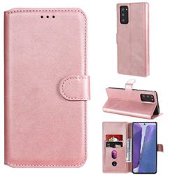 Retro Calf Matte Leather Wallet Phone Case for Samsung Galaxy Note 20 - Pink