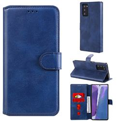 Retro Calf Matte Leather Wallet Phone Case for Samsung Galaxy Note 20 - Blue