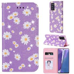 Ultra Slim Daisy Sparkle Glitter Powder Magnetic Leather Wallet Case for Samsung Galaxy Note 20 - Purple