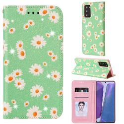 Ultra Slim Daisy Sparkle Glitter Powder Magnetic Leather Wallet Case for Samsung Galaxy Note 20 - Green